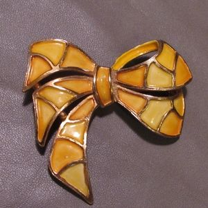 Vintage Hollycraft Enameled Bow Brooch, yellow